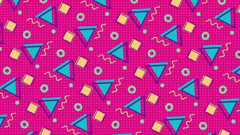 4K multicolor geometric shapes pattern in retro, memphis 80s - 90s style. Animated vintage abstract background.