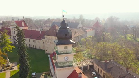 Aerial view of the historical center of Zhovkva, Lviv region, Ukraine. Shooting with drone