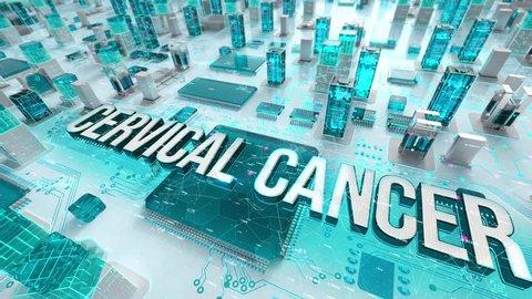 Cervical Cancer with medical digital technology concept