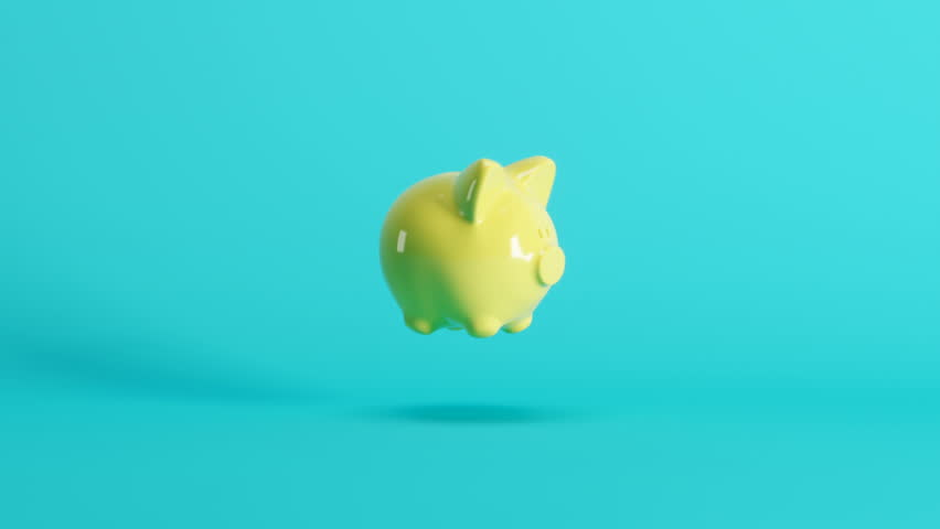 Outstanding yellow pig floating on blue background. 3D Animation. | Shutterstock HD Video #1026752993
