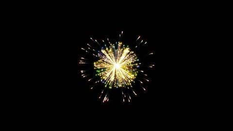 Colorful fireworks on black background. Set Of three beautiful, festive fireworks