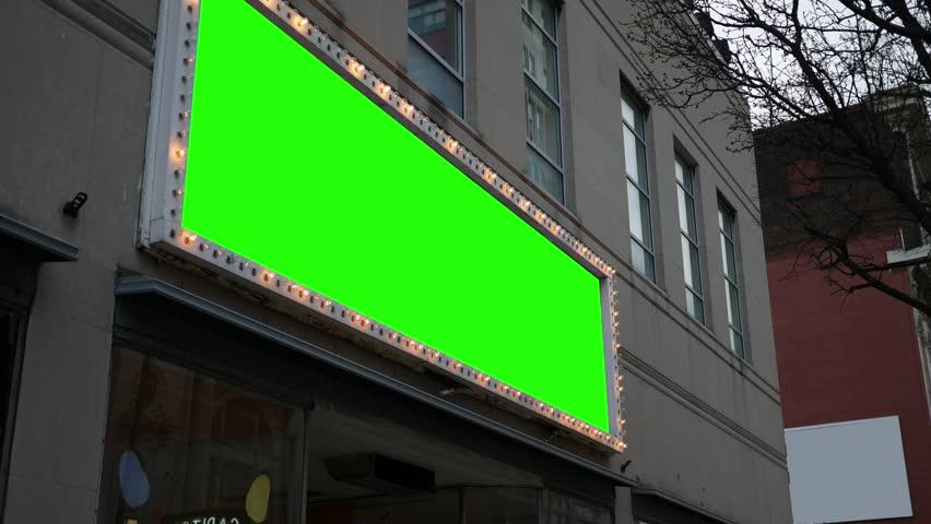 Green screen light up sign over business | Shutterstock HD Video #1026791633