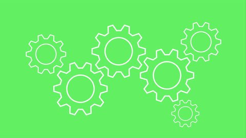 Gear Wheel Engine Icon Business Concept Ideafrom Gears Cooperation Teamwork LOOP on Green Screen Background