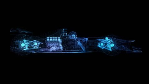 Formula one. Glow points, line and mesh formation of 3d Model Formula. 4k animation. Loop seamless.
