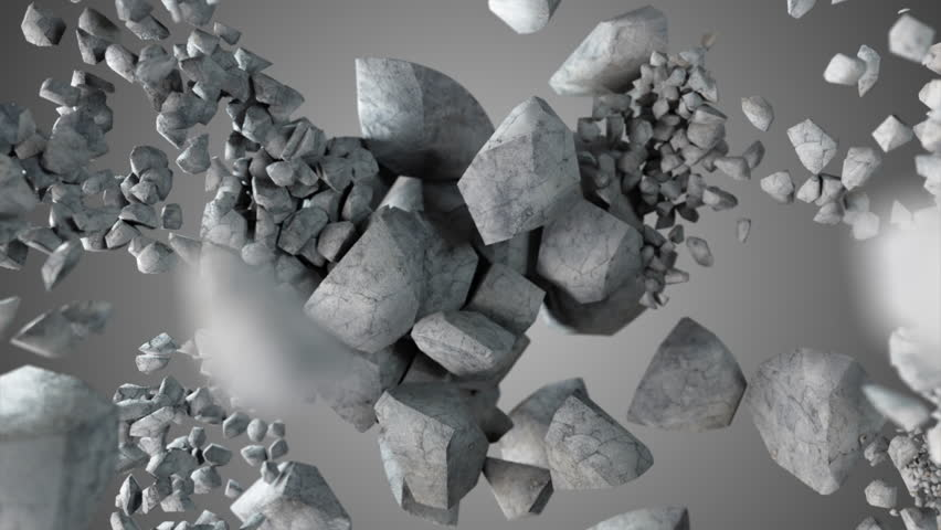 Explosion and destruction of the stone sphere in slow motion cg 3d animation with alpha matte