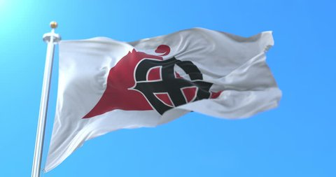 Flag of the capital and city of Kagoshima, Japan. Loop