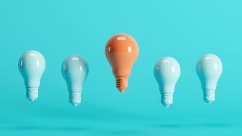 Outstanding Orange Light Bulb Among Light Blue Light Bulbs Floating On Blue Background 3d Animation
