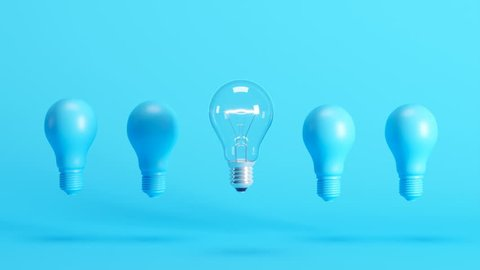 Outstanding light bulb among blue light bulbs floating on blue background. 3D Animation.