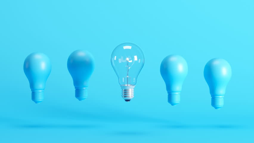 Outstanding light bulb among blue light bulbs floating on blue background. 3D Animation.   Shutterstock HD Video #1027105523
