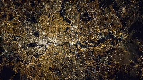 London city satellite view by night with animated flashing lights. Contains public domain image by Nasa
