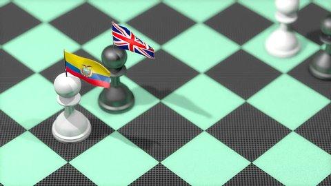 Chess Pawn with country flag, Ecuador, United Kingdom.