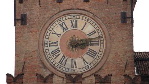 BOLOGNA, ITALY - JUNE 3, 2011 Time Lapse Bologna Palazzo D'accursio Comunale Palace Clock Tower Italy Landmark