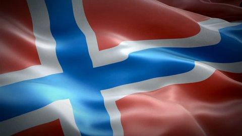 Norway flag Motion Loop video waving in wind. Realistic Norwegian Flag background. Norway Flag Looping Closeup 1080p Full HD 1920X1080 footage. Norway EU European country flags footage video for film,