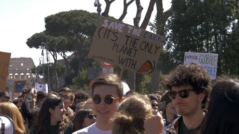 Rome,Italy, 15 March 2019: Global Climate Strike:People Picketing With Banners