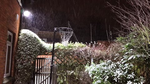 Snow falls past a Netball Hoop in an English Cottage Garden lit up at night under a flood light