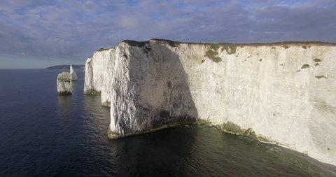 Isle of Purbeck, Dorset, United Kingdom - CIRCA 2018: Chalk cliffs near Old Harry Rocks on the Dorset coast