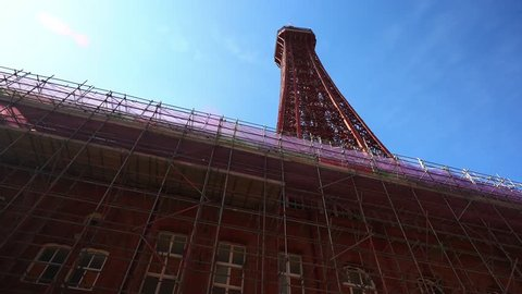 Blackpool, Lancashire - 25th March 2019 - Renovation and essential building maintenance takes place on Blackpool Tower and Blackpool Dungeons in the heart of the city, beside the seaside and pier