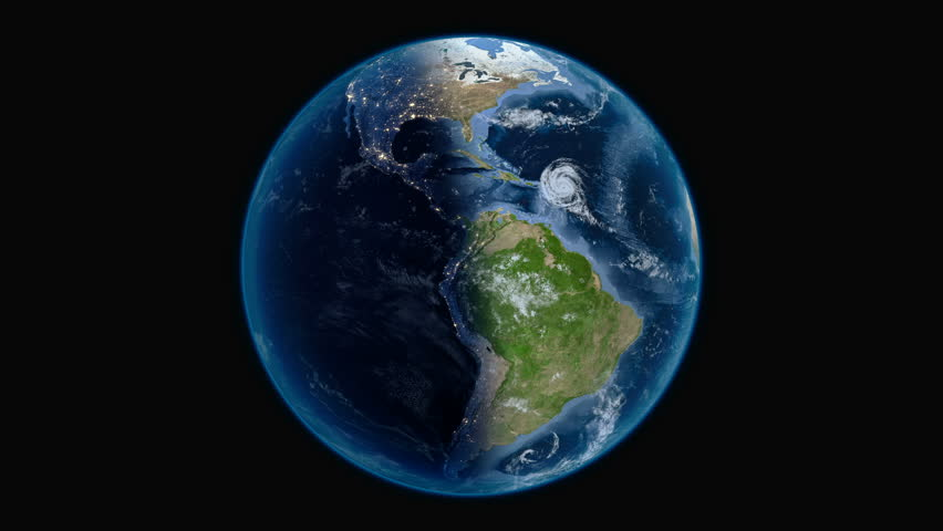 Rotating planet Earth on a solid black background, perfect seamless loop 360 degrees footage in 4K. Some elements of this image furnished by NASA | Shutterstock HD Video #1027355363