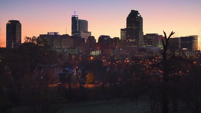 Raleigh, North Carolina, USA morning skyline from the park.