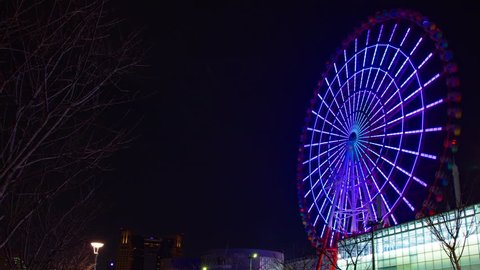 Time lapse ferris wheel at the amusement park at night. Koutou-ku Odaiba Tokyo Japan - 01.08.2019 : It s a ferris wheel at night. camera : Canon EOS 5D mark4