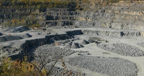 Large open iron ore quarry, panorama of a large stone quarry, equipment in the quarry, Open pit working process, quarry mining