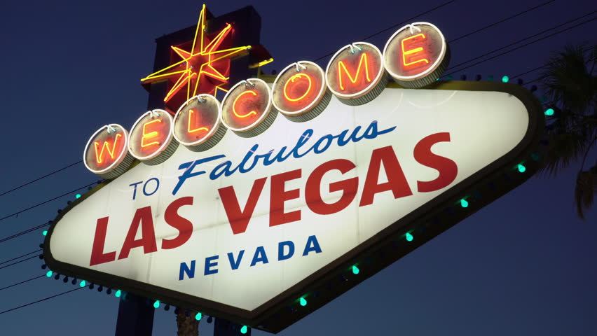 Welcome to Fabulous Las Vegas Nevada Neon Sign with blue night sky.  | Shutterstock HD Video #1027471613