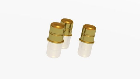 Three gold thimbles on white backgrounds - metaphor.