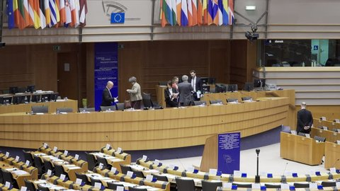 Brussels, February 2, 2015: Some people leave the European Parliament hemicycle after a session.