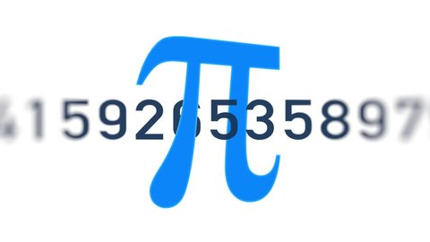 Loopable: Digits of number Pi move through the frame next to Greek mathematical blue symbol Pi on white background.