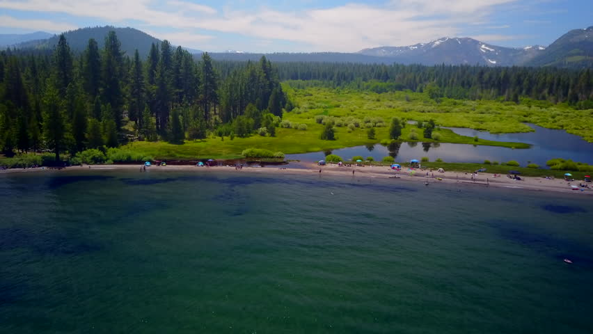 Kiva Beach Lake Tahoe scenic beach in the forest with mountain landscape