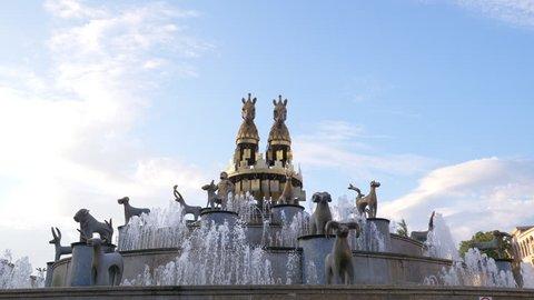 KUTAISI, GEORGIA - JULY 2018: Beautiful fountain in Kutaisi, Georgia. Kutaisi Fountain is located in the central square of Kutaisi, named David Agmashenebeli.