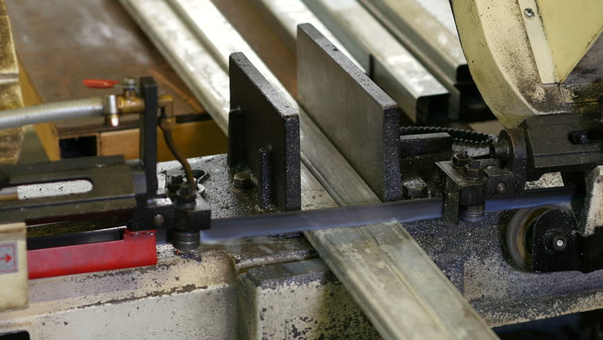 Saw in the workplace Metall profiles cut iron profiles | Shutterstock HD Video #1027546853