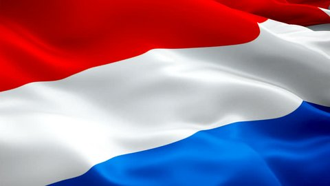 Dutch flag closeup 1080p Full HD 1920X1080 footage video waving in wind. National Amsterdam 3d Holland flag waving. Sign of Netherlands seamless loop animation. Holland flag HD resolution Background 1