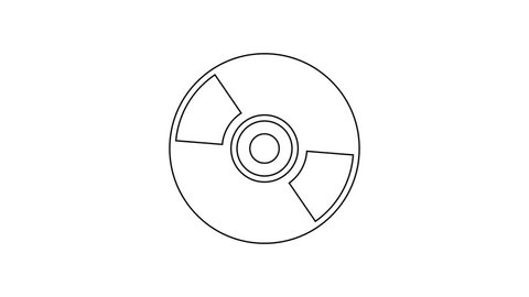 Grey CD or DVD disk line icon on white background. Compact disc sign. 4K Video motion graphic animation