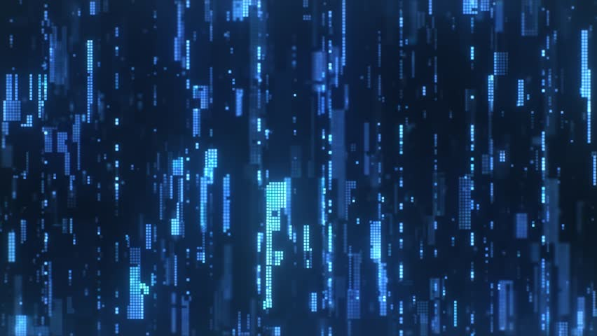 The abstract high-tech digital background represents information transfer. Flying sideways along the bright blue flickering pixels combined into matrices randomly spaced over a dark background. | Shutterstock HD Video #1027652603