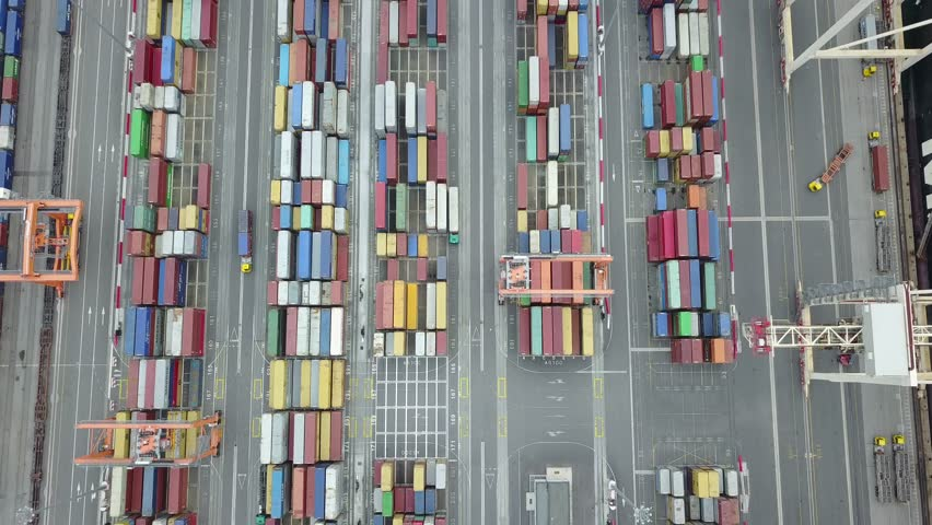 Shipping Container Port - Flyover | Shutterstock HD Video #1027659653
