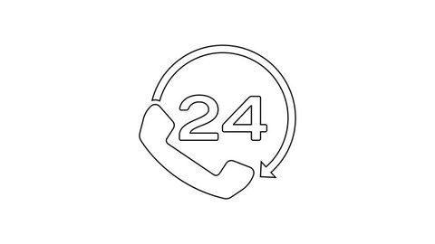 Grey Telephone 24 hours support line icon on white background. All-day customer support call-center. Full time call services. 4K Video motion graphic animation