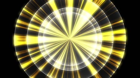 Abstract animation of several spheres with colorful neon lines moving in circle with wavy color lines on a black background. Footage. Colorful animation