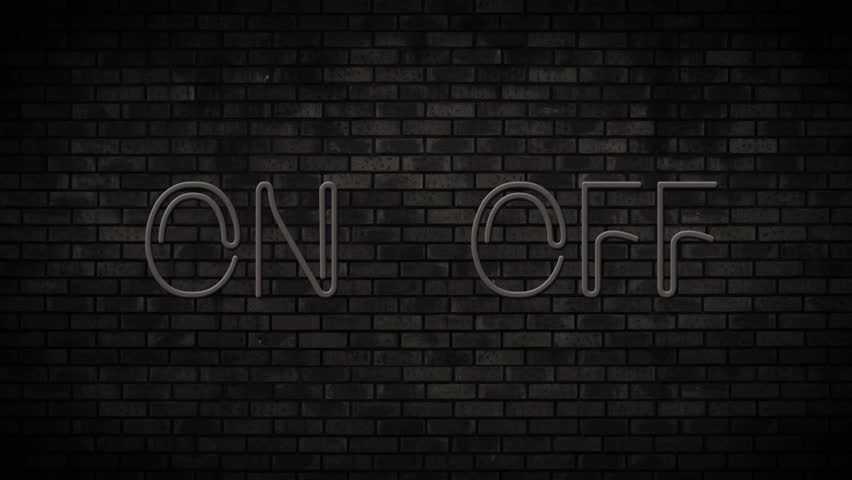 Neon On and Off Switch Light on Brick Wall. Night Club Bar Blinking Neon Sign. Motion Animation. Video available in 4K FullHD and HD render footage