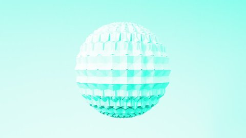 Abstract 3D shapes hexagon sphere animation. 4k render loop footage. Set of different pastel colors.