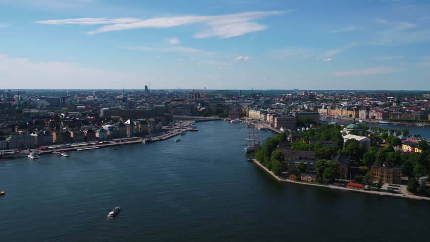 Aerial Sweden Stockholm June 2018 Sunny Day 30mm 4K Inspire 2 Prores  Aerial video of downtown Stockholm in Sweden on a beautiful sunny day. | Shutterstock HD Video #1027725743