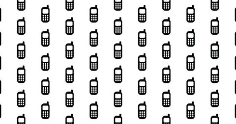 Cell phone icons background clip motion backdrop video in a seamless repeating loop.  Black and white cellphone communication & technology pattern background CGI high definition motion video clip