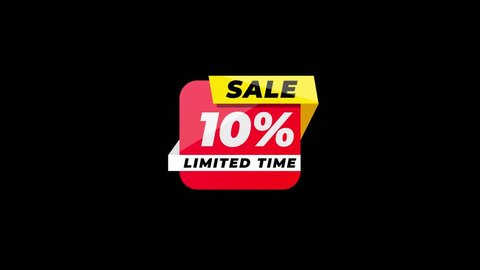 4K Red flat 2d Animated 10 percent OFF discount icon. Sale banner with special offer.