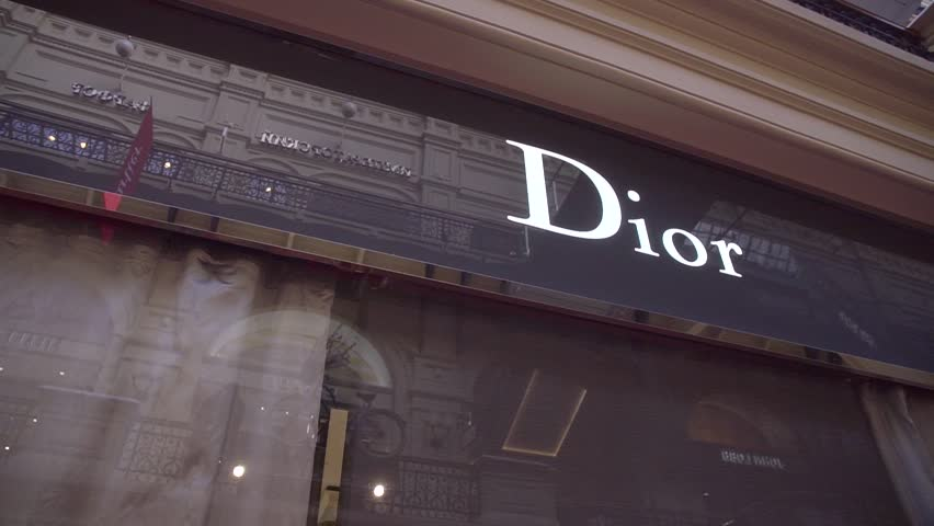 Moscow, Russia - April 10, 2019: Dior brand cosmetics store in Moscow, Russia. Cosmetics are the most accessible Dior product, with counters in upmarket department stores across the world.