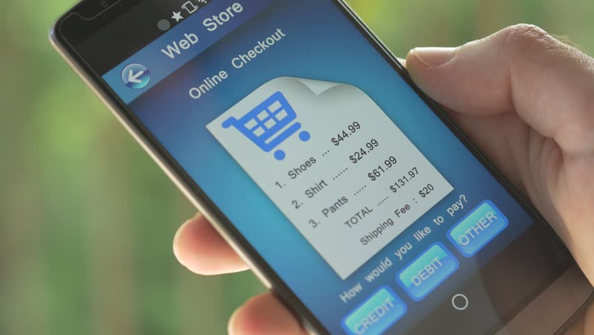 Smartphone screen showing a online checkout process. We can clearly see a bill from a Internet online store being paid.