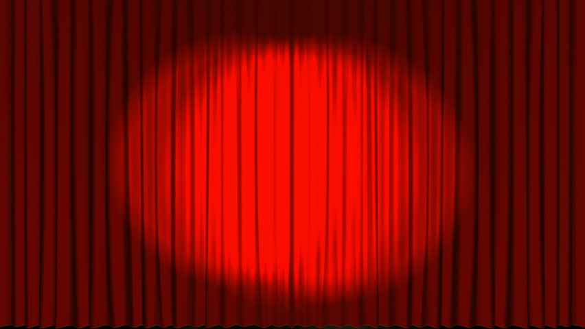 Red theatre stage curtains opening up to reveal heavenly light