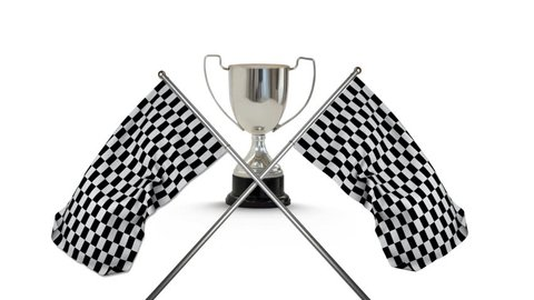 First place trophy cup with crossed racing flags hanging on poles in the foreground