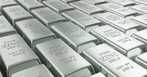 Zinc ingots background, loop animation. 3D rendering