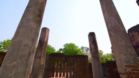 4K video of ancient Buddha statue in Phra Si Ratana Mahathat Chaliang temple, Thailand.