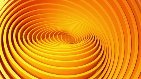 Abstract background with orange rotating rings. Geometric concept with colorful moving tubes. Motion design. Smooth hypnotic pattern. 3d loop animation. Seamless composition. Radial ripples. 4K UHD